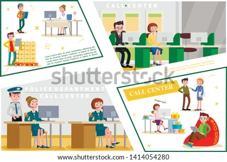 Flat helpline service concept with support workers of shop medical bank police department call centers vector illustration