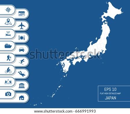flat high detailed japan map