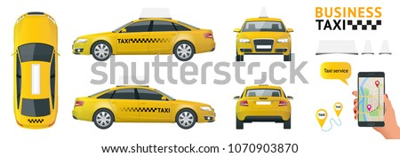 Flat high quality city service transport icon set. Car taxi. Build your own world web infographic collection. Taxi branding mockup. View from side, front, back and top.