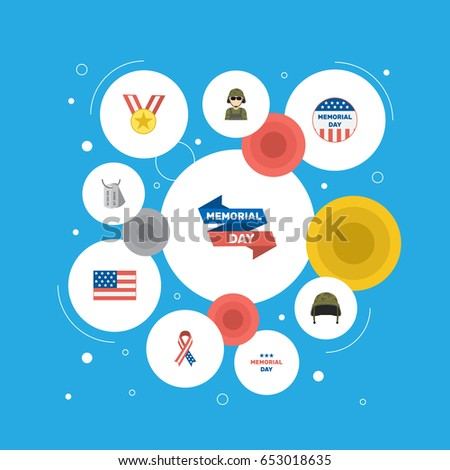 Flat Holiday, American Banner, Identity And Other Vector Elements. Set Of Day Flat Symbols Also Includes Holiday, Awareness, Medal Objects.