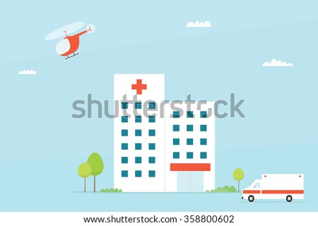 Flat Hospital building with ambulance and helicopter. Clipart image