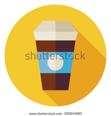 Flat Hot Drink Coffee Cup Circle Icon with Long Shadow. Food and Drink Vector illustration. Office Life Workplace Object. Restaurant Menu