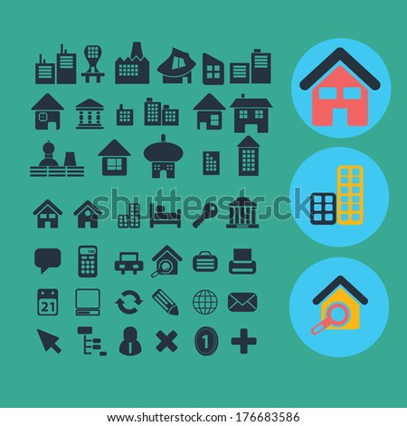 flat house, home, buildings icons set, vector