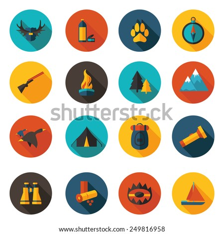 flat hunting icons in vector