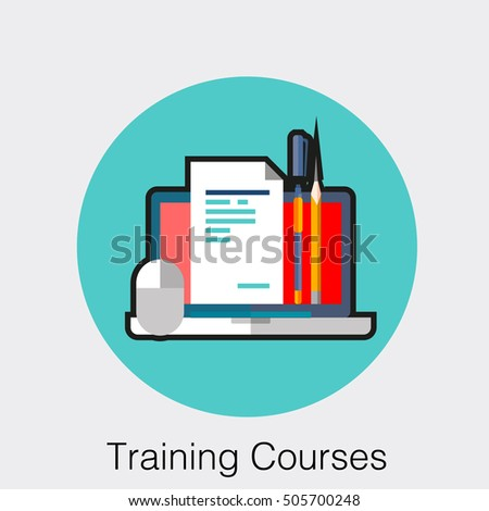Flat icoan business web element, online education sign, button, logo of Training Courses with laptop, notes paper, computer mouse, pan and pencils Imagine de stoc ©