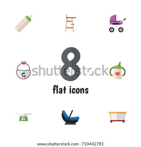 flat icon baby set of