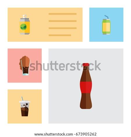 flat icon beverage set of cola