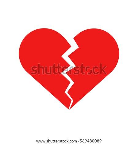 Flat icon broken heart isolated on white background. Vector illustration.