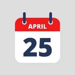 Flat icon calendar isolated on blue background. Vector illustration.