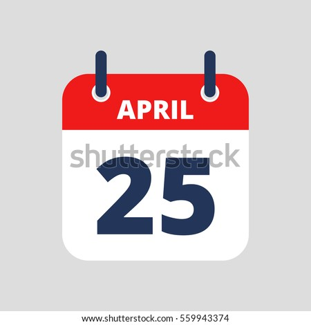 Flat icon calendar isolated on blue background. Vector illustration.