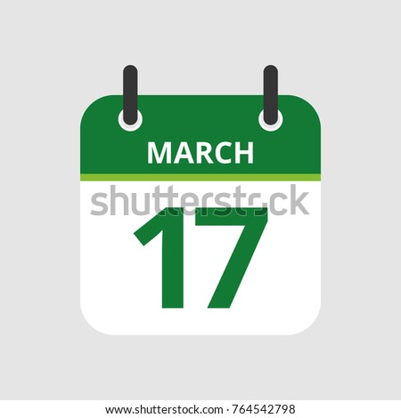 Flat icon calendar 17th of March isolated on gray background. Vector illustration.