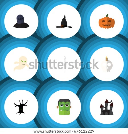 flat icon celebrate set of