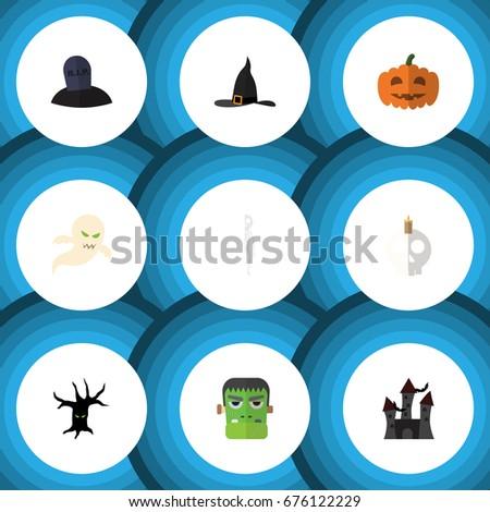 flat icon celebrate set of