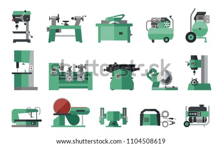 Flat icon collection of electric machine tools  for wood, metal, plastic, stone, etc. Machines used in production in various types of industry.