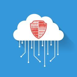 Flat icon data cloud. Data protection shield. Vector flat illustration.