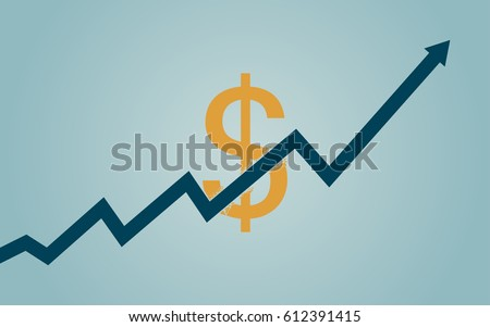 flat icon design of uptrend line arrow breaking through dollar sign on blue color background