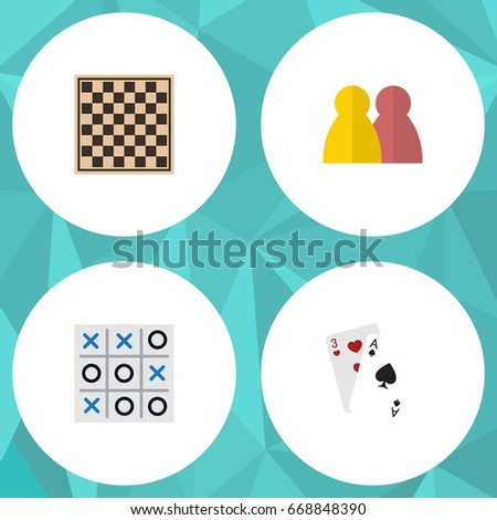Flat Icon Entertainment Set Of Ace, Chess Table, People And Other Vector Objects. Also Includes Tic, Play, Table Elements. Foto stock ©
