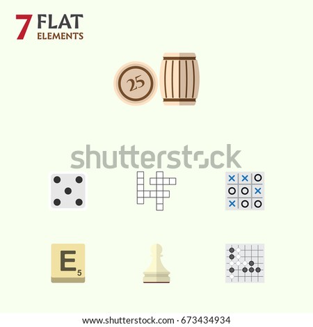 Flat Icon Entertainment Set Of Backgammon, Mahjong, X&O And Other Vector Objects. Also Includes Play, Tic, Tac Elements. Foto stock ©