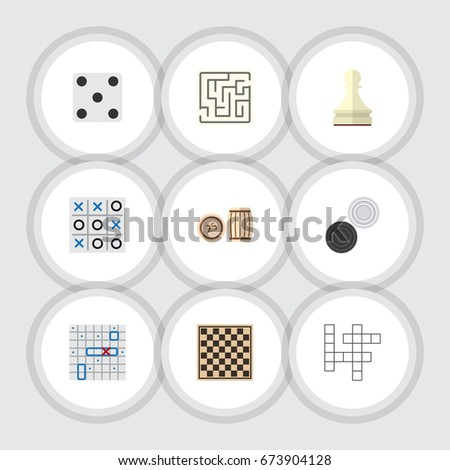 Flat Icon Entertainment Set Of Chequer, Chess Table, Lottery And Other Vector Objects. Also Includes Backgammon, Tac, Lottery Elements. Foto stock ©