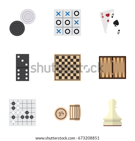 Flat Icon Entertainment Set Of Chess Table, Pawn, X-O And Other Vector Objects. Also Includes Bones, Dice Foto stock ©