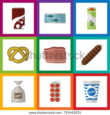 Flat Icon Food Set Of Tin Tuna, Cookie, Yogurt And Other Vector Objects. Also Includes Meat, Cream, Soda Elements.