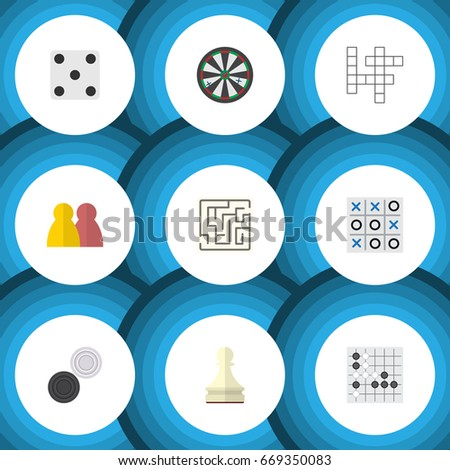 Flat Icon Games Set Of Gomoku, Backgammon, People And Other Vector Objects. Also Includes Backgammon, Renju, Game Elements. Foto stock ©
