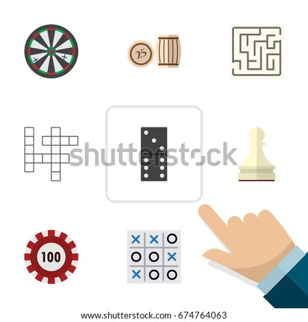 Flat Icon Games Set Of Pawn, Arrow, Poker And Other Vector Objects. Also Includes Game, Table, Pawn Elements. Foto stock ©