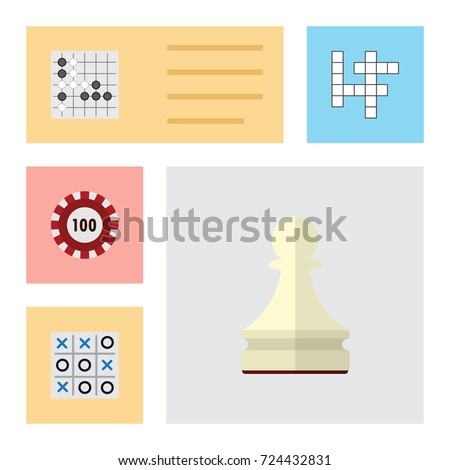 Flat Icon Games Set Of X-O, Poker, Gomoku And Other Vector Objects. Also Includes Pawn, Table, Gomoku Elements. Foto stock ©