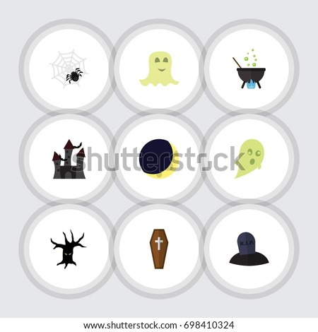 flat icon halloween set of