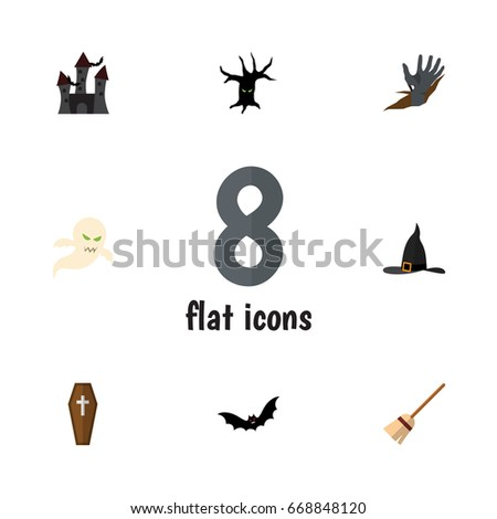 flat icon halloween set of