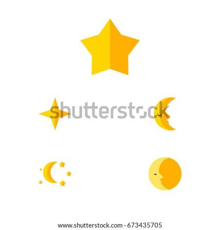 flat icon night set of starlet