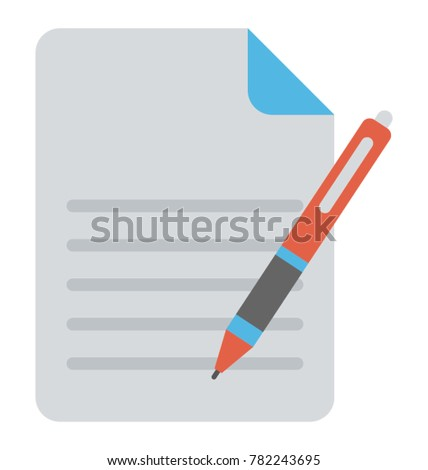 Flat icon of an appointment letter and a pen #782243695