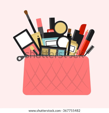 Flat icon of cosmetics product. Vector flat design of make up. Vector flat design of make up procedure. Make up. Make up elements. Make up vector details. Flat illustration of make up.