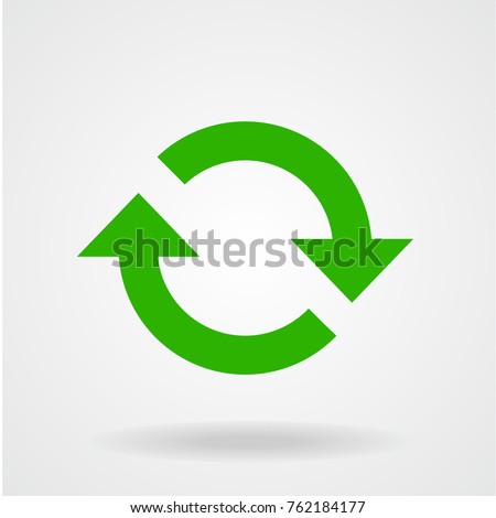Flat icon of cyclic rotation, loop movement recurrence, renewal. Green symbol of recycling.