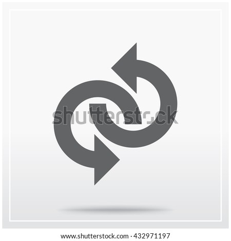 Flat icon of graphical symbol of movement, rotation, cyclic recurrence, etc. Vector illustration