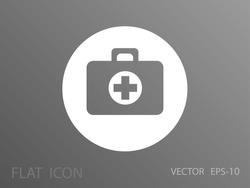 Flat icon of medical bag