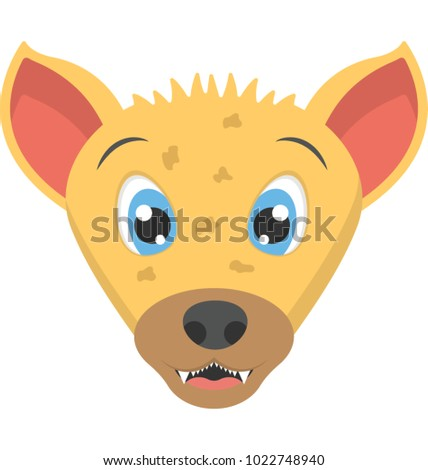 Flat icon of the face of a baby hyena