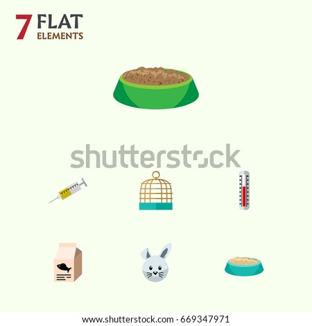 flat icon pets set of vaccine