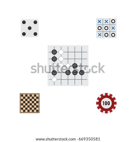 Flat Icon Play Set Of Backgammon, X&O, Poker And Other Vector Objects. Also Includes Toe, Tic, Checkerboard Elements. Foto stock ©