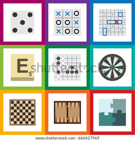 Flat Icon Play Set Of Jigsaw, Backgammon, Arrow And Other Vector Objects. Also Includes Checkerboard, Toe, Gomoku Elements. Foto stock ©