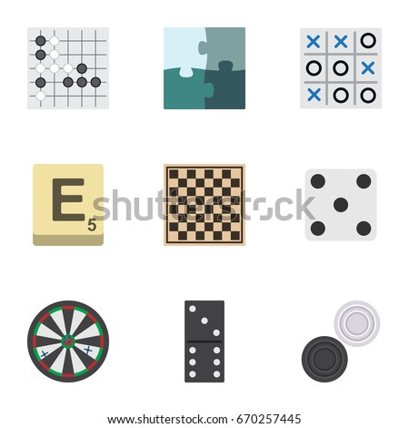 Flat Icon Play Set Of X&O, Backgammon, Jigsaw And Other Vector Objects. Also Includes Bones, Jigsaw, Backgammon Elements. Foto stock ©
