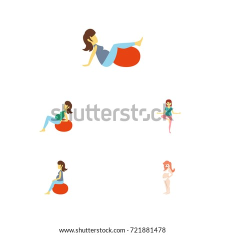 flat icon pregnancy set of lady