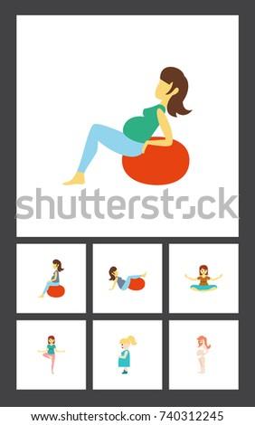 flat icon pregnancy set of