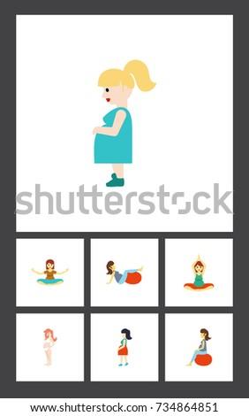 flat icon pregnant set of