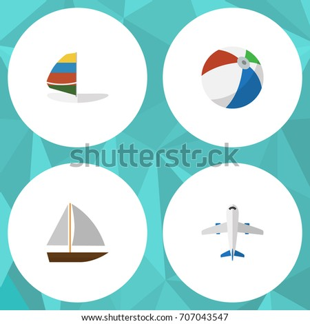 Flat Icon Season Set Of Aircraft, Yacht, Sphere And Other Vector Objects. Also Includes Ball, Round, Craft Elements.