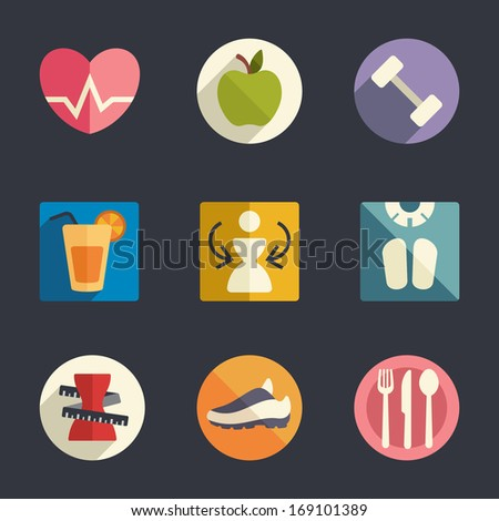 Flat icon set Diet and fitness theme