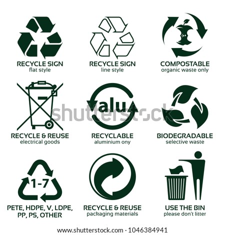 flat icon set for green eco packaging, vector illustration, eps10
