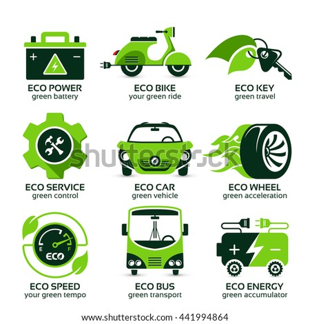 flat icon set for green eco