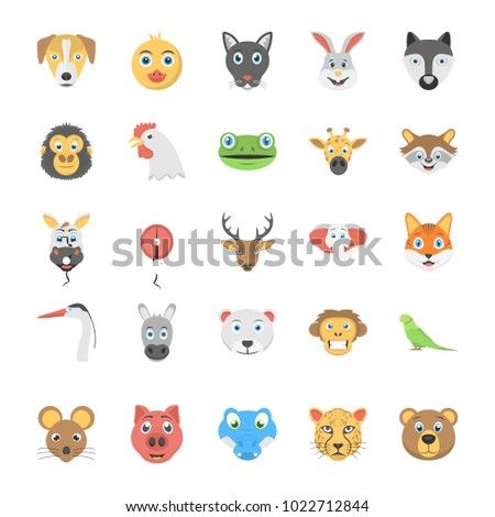 Flat Icon Set of Animals and Birds