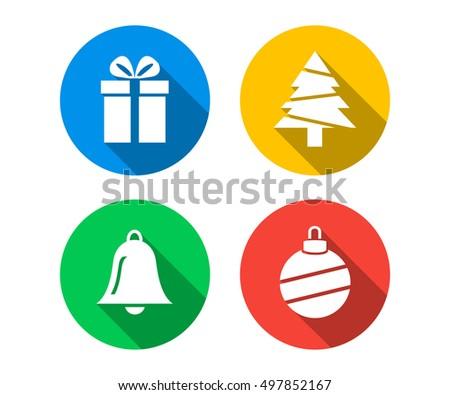 Flat icon set of Christmas